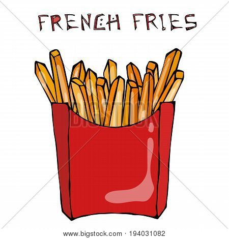 French Fries in Paper Box. Fried Potato Fast Food in a Red Package. Realistic Hand Drawn Doodle Style Sketch. Vector Illustration Isolated On a White Background.