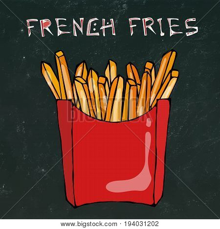 French Fries in Paper Box. Fried Potato Fast Food in a Red Package. Vector Illustration Isolated on a Black Chalkboard Background. Realistic Hand Drawn Doodle Style Sketch.