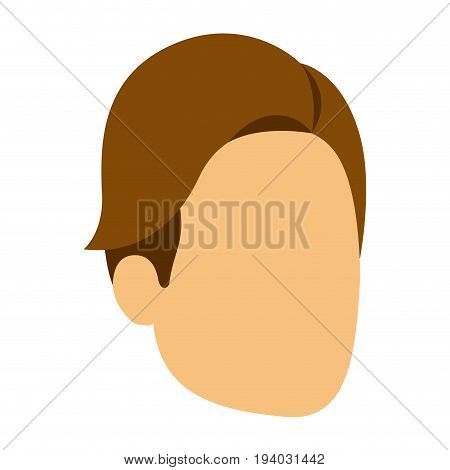 colorful silhouette of man faceless with brown hair side fringe vector illustration