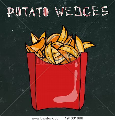 Potato Wedges in Paper Box. Fried Potato Fast Food in a Red Package. Vector Illustration Isolated on a Black Chalkboard Background. Realistic Hand Drawn Doodle Style Sketch.
