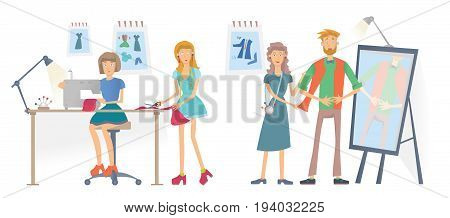 Fashion sewing Studio, Atelier. Young Women sew clothes with a sewing machine. A man tries on clothes. Vector illustration, isolated on white background.
