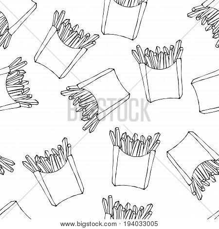 Crispy french fries seamless pattern with paper boxes of fried potato. Realistic Hand Drawn Doodle Style Sketch. Vector Illustration Isolated On a White Background.