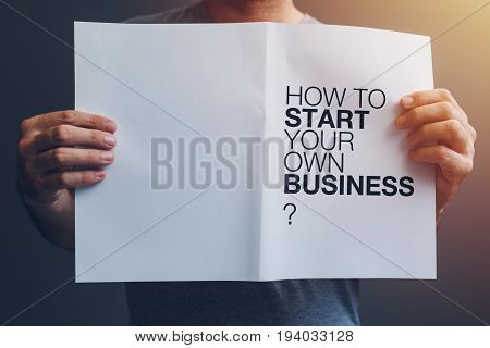 How to start your own business guide in male hands