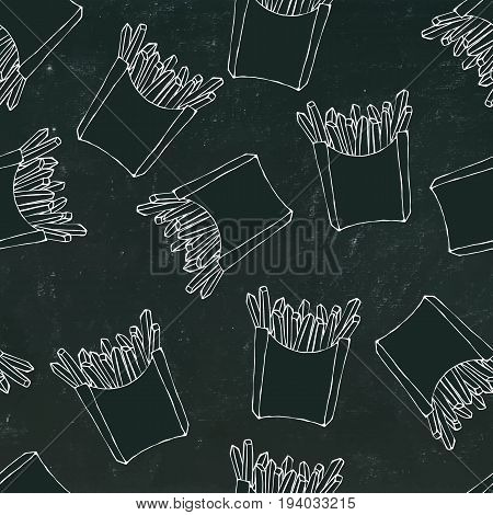 Crispy french fries seamless pattern with paper boxes of fried potato. Vector Illustration Isolated on a Black Chalkboard Background. Realistic Hand Drawn Doodle Style Sketch.