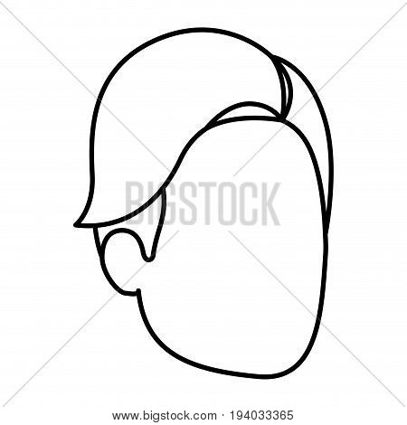 sketch silhouette of man faceless with hair side fringe vector illustration