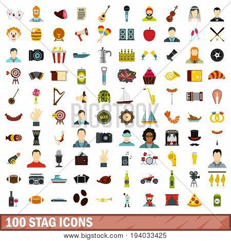 100 stag icons set in flat style for any design vector illustration