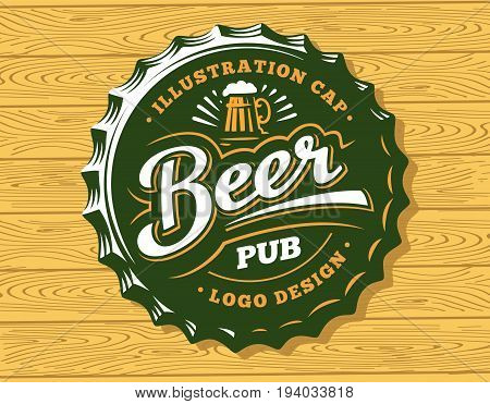 Mug beer logo on cap - vector illustration, emblem brewery design on wood background
