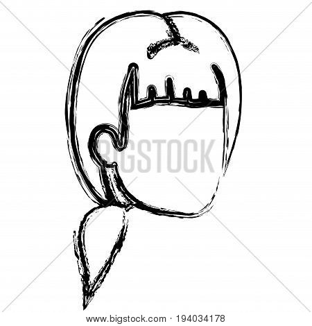 blurred silhouette of man faceless with ponytail and bangs vector illustration