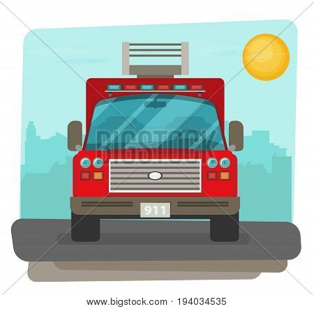 Fire truck rescue engine transportation icon vector