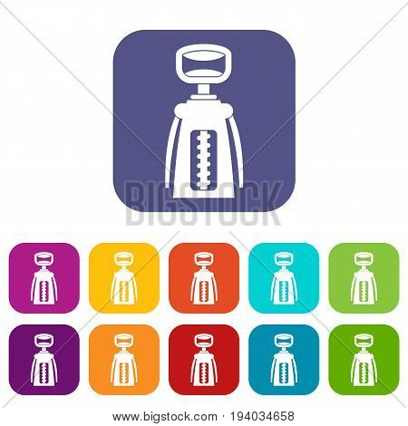 Modern corkscrew icons set vector illustration in flat style In colors red, blue, green and other