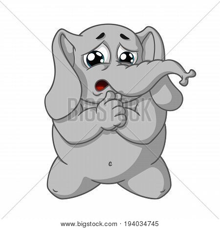 Elephant. Character. He kneels for forgiveness. Big collection of isolated elephants. Vector, cartoon.