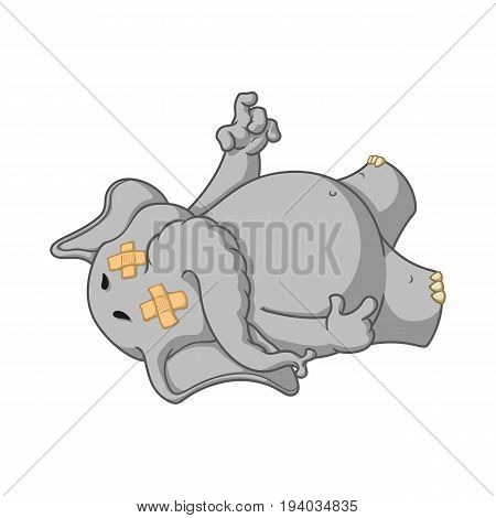 Elephant. Character. Fell tired. Dropped dead. Big collection of isolated elephants. Vector, cartoon.