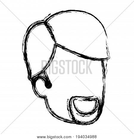 blurred silhouette of man faceless with van dyke beard and side parted hair vector illustration