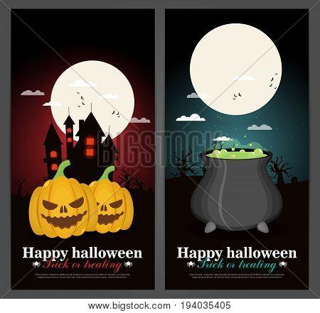 Halloween background in flat style design vector set