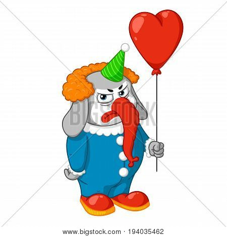 Elephant. Character. Evil clown with a balloon. Big collection of isolated elephants. Vector, cartoon.
