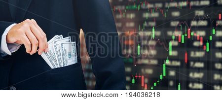 Businessman Holding Money Us Dollar Bills Business Financial Concept Forex Graph Of Stock Market On