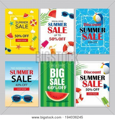 Summer sale emails and banners mobile templates. Vector illustrations for website posters brochure voucher discount flyers newsletter designs ads promotional background.