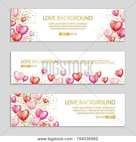 Red Heart balloon banners. Heart Gold Red pink transparent balloon background. Frosted party balloons event design. Web header banner. Balloons banner Party decoration birthday, celebration, holiday