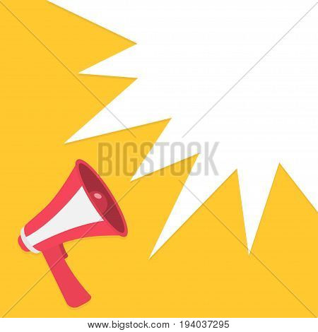 Megaphone speaker loudspeaker round icon. Announcement sign symbol in the corner. Star speech talking bubble template. Flat design. Red color. Yellow background. Isolated. Vector illustration