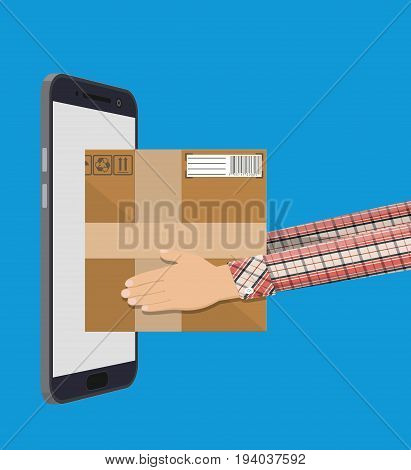 Hands with postal cardboard box and smartphone. Express delivery box design. Vector illustration in flat style