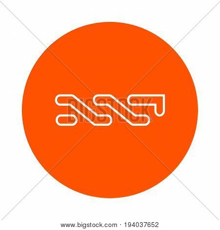 Symbol Of Digital Crypto Currency Nxt, Monochrome Round Line Icon, Flat Style, Simple Color Change