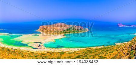 View of the beautiful beach in Balos Lagoon beach and Gramvousa island on Crete Greece.