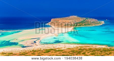 View of the beautiful beach in Balos Lagoon and Gramvousa island on Crete Greece.