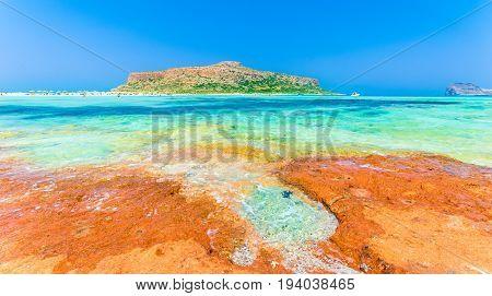 Balos Lagoon beach and Gramvousa island on Crete Greece.