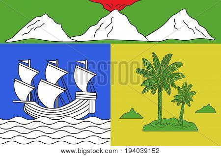 Flag of Saint-Denis is the prefecture of the French overseas region and department of Reunion in the Indian Ocean.
