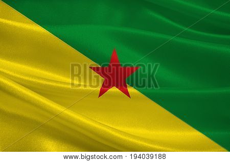 Flag of French Guiana is an overseas department and region of France located on the north Atlantic coast of South America in the Guyanas. 3d illustration