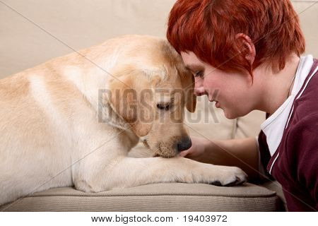 Woman with labrador