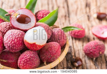 Fresh Organic Lychee Fruit On Bamboo Basket