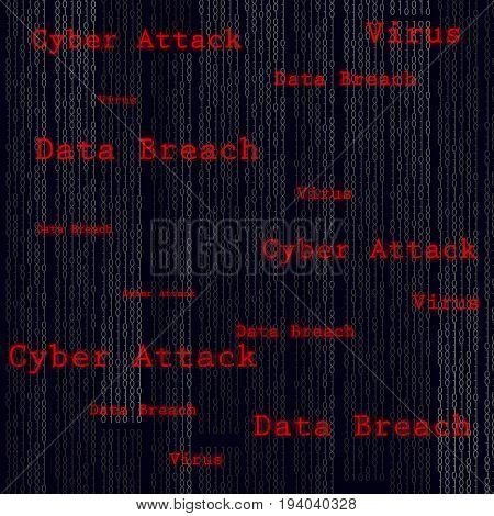 Binary scan virus, data breach, cyber attack. Technology web infection detected illustration. Vector