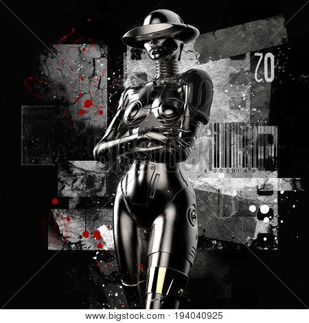 3D illustration. The stylish cyborg the woman on a grunge background. Futuristic fashion android.