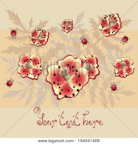 Red poppies and ladybugs. Poster, postcard. Flowers on a beige background with place for text. Design for print on fabric or paper background image.