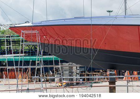 boat waiting for repair at phuket boat lagoon Marian in Thailand