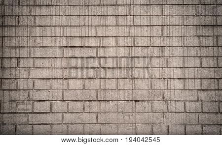 Grunge Gray Brick Wall Background With Copy Space, Texture Pattern. Old Texture Of White Stone Block