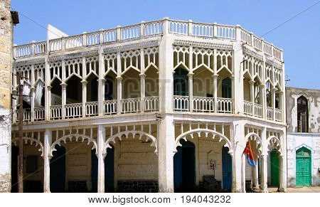 Colonial style building at the street of Massawa in Eritrea
