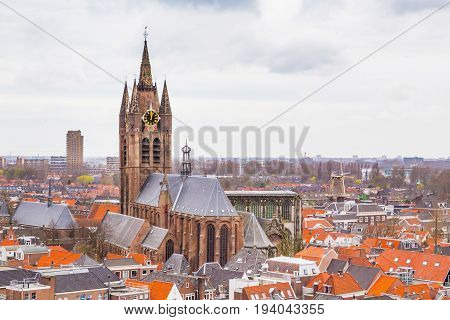 Aerial panoramic downtown street view with church and houses in Delft, Holland