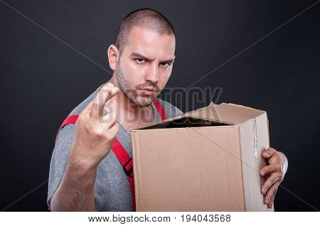Mover Man Holding Box Wising Bad Luck With Fingers Crossed