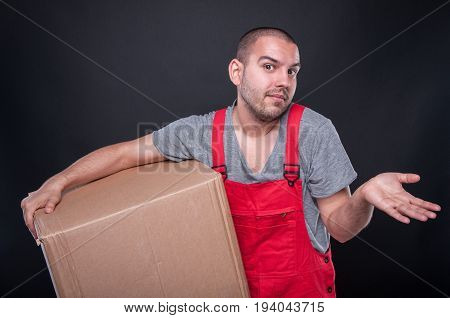 Mover Man Holding Box Making Not Knowing Gesture