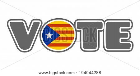 Words cloud arrow sign relative to politic situation between Spain and Catalonia. Vote word. O letter textured by flag. Democracy political process with referendum