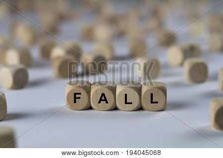 Fall - Cube With Letters, Sign With Wooden Cubes