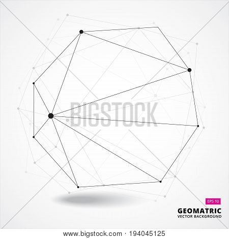 Abstract geometric composition forms 3D complicated conceptual technology. vector illustration for print ad magazine