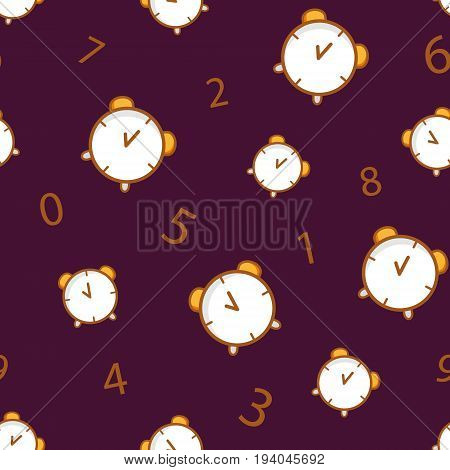 Seamless pattern with alarm clock and number on brown background. Thin line flat design. Vector.