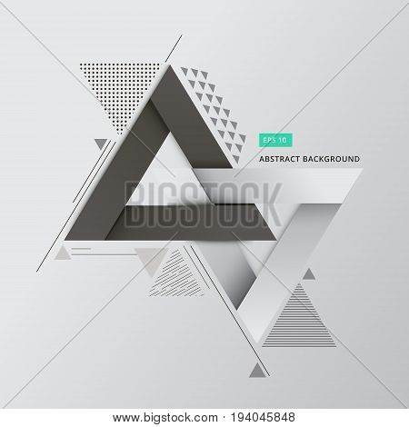 Abstract geometric composition forms modern background with decorative triangles 3d and patterns backdrop vector illustration for print ad magazine