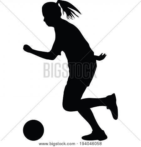 woman with a ball soccer player vector