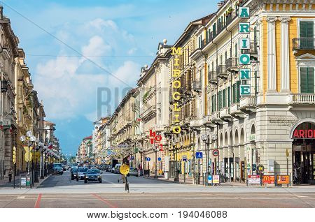 CUNEO ITALY - JUNE 11 2011: View along Corsa Nizza street toward Alps. Cuneo is one of the most visited cities in Piedmont