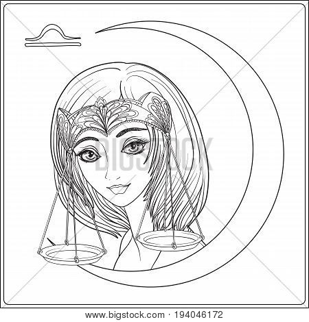 Libra. A young beautiful girl In the form of one of the signs of the zodiac.  Outline hand drawing coloring page for adult coloring book. Stock line vector illustration.