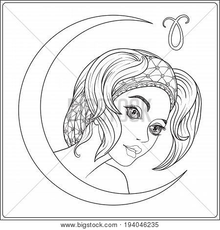Aries. A young beautiful girl In the form of one of the signs of the zodiac.  Outline hand drawing coloring page for adult coloring book. Stock line vector illustration.